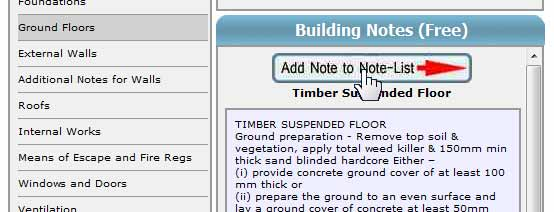 Adding a Timber Suspended Floor Note to a Specification